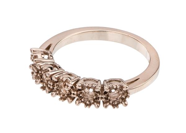 Halo Five Diamond Stone Ring