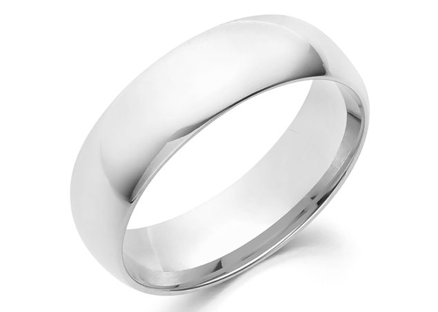 Half Round Wedding Band 6mm For Man