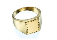 Engraved Signet Ring - 13X11mm