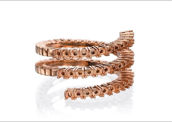 Diamond Spiral Ring- 3 Lines