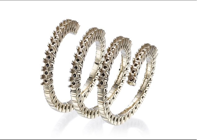 Diamond Spiral Ring- 4 Lines