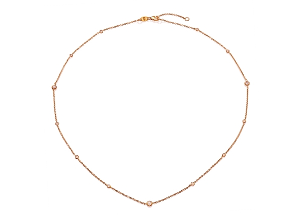 Bezel Set Diamond Necklace 0.35 CT TW