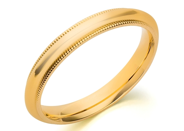 Изображение 3mm Milgrain Comfort Fit Wedding Band