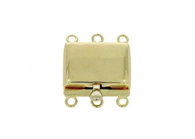 Picture of Rectangle  Pearl Clasp 3 Lines