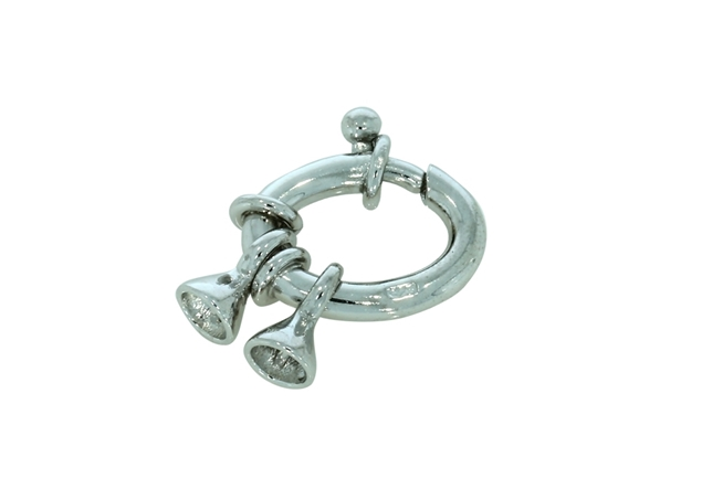 Picture of Oval Spring Ring Rodium Plated 2pcs