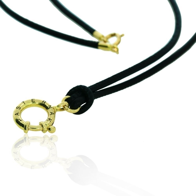 18k yellow gold Necklace for man nappa lether