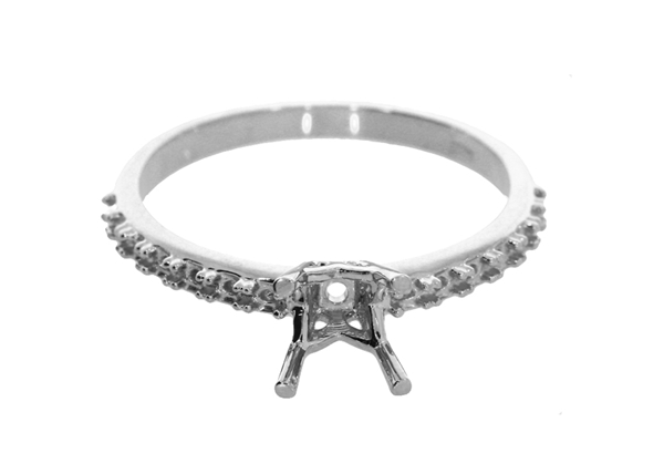 Picture of Four Prong Engagement Ring With Side Stones