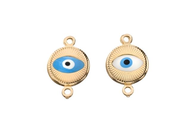 Enamel Two Hoops Evil Eye Pendant