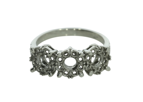 Halo Three Stones Ring With Side Stones