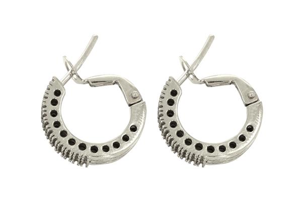 Diamond Hoop Earring 3 Lines 15mm