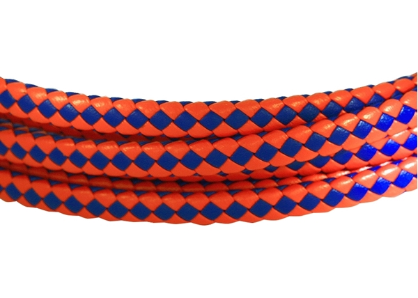6x3mm Braided Genuine leather cord (Blue/Red)