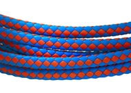 6x3mm Braided Genuine leather cord (Light Blue/Red)