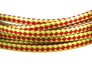 6x3mm Braided Genuine leather cord (Beige/Red)
