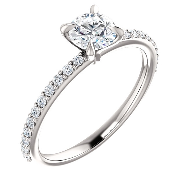 Изображение Solitaire Ring Mounting with Side Stones 0.77 CTW